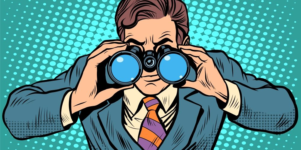 Businessman looking through binoculars. Lead vision Navigator pop art retro style. Business concept vision of the future