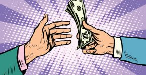 Buy sale dollars cash pop art retro style. Business concept the buyer and the seller. Retro Finance